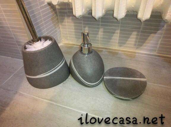 Vasca Da Bagno In Pietra Prezzo : Set accessori da bagno effetti pietra di colore grigio scuro
