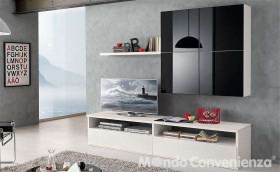 Mobile da soggiorno per TV fino a 55 pollici bianco e laccato nero - I ...