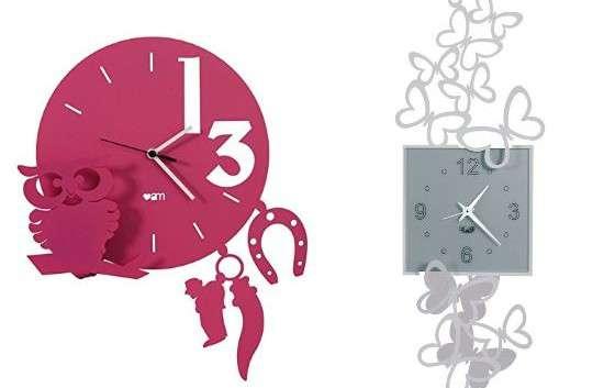 Orologio Design Arti e Mestieri da muro per il soggiorno con farfalle e gatti