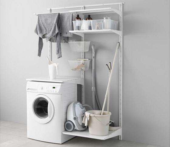 Mobile lavatrice componibile economico fai da te algot for Scaffali per ufficio ikea