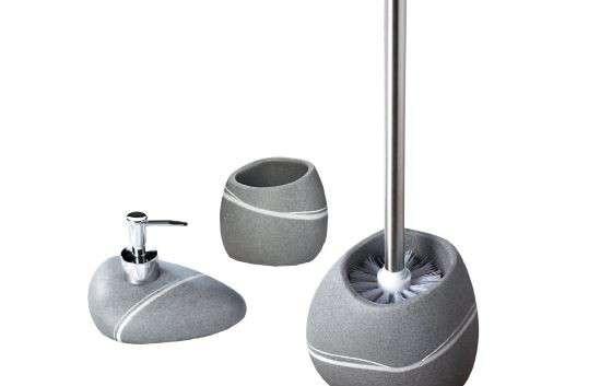 Set accessori da bagno effetti pietra di colore grigio for Porta scopino leroy merlin