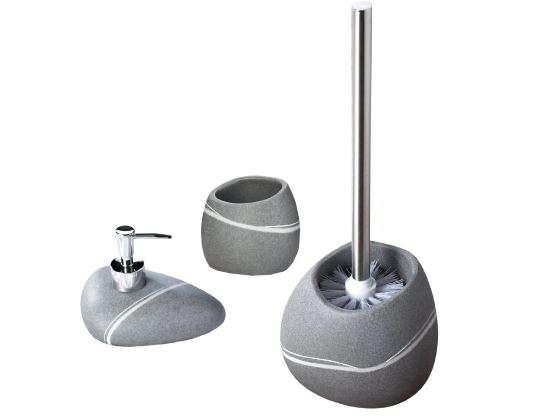 Set accessori da bagno effetti pietra di colore grigio - Bagno di colore grigio capelli ...