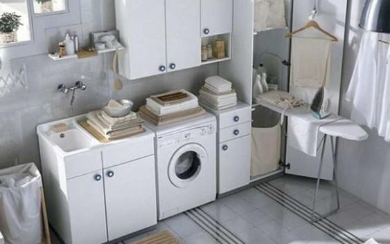 Come arredare bagno lavanderia piccolo mobile lavandino mensole for Arredare piccolo bagno
