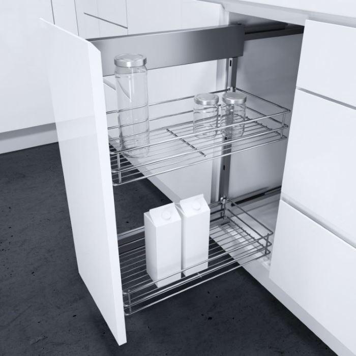 Carrello cucina con ruote in legno pieghevole bianco - Mobile con cassetti per cucina ...