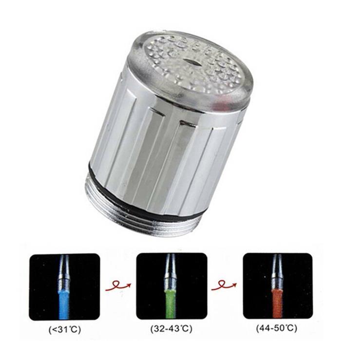TM SODIAL Rubinetto luce temperatura di 3 colori con sensori di luce e temperatura