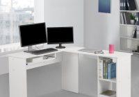 LANGRIA Scrivania Tavolo Porta PC a Forma di L per Casa Ufficio Bianco